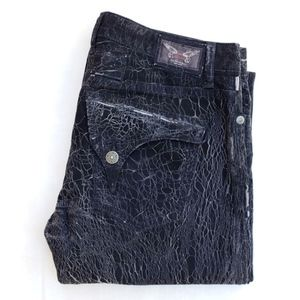 NEW MEN ROBIN'S JEAN Straight -Black Crackle SZ 38
